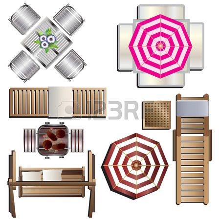 Attrayant Outdoor Furniture Top View Set 18 For Landscape Design , Vector.. Royalty  Free Cliparts