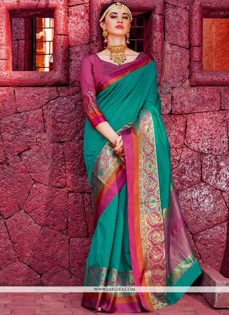 6bdf30f95ff8d6 Real attractiveness will come out of your dressing style with this sea  green handloom silk designer