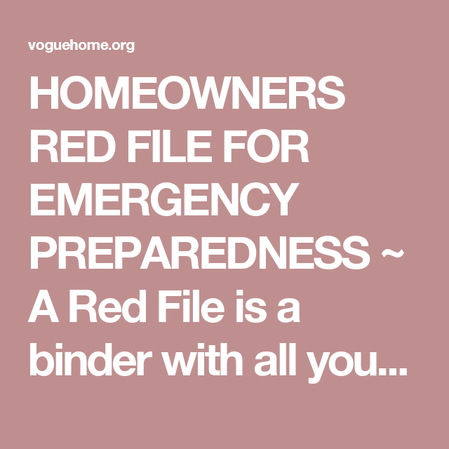 HOMEOWNERS RED FILE FOR EMERGENCY PREPAREDNESS ~ A Red ...