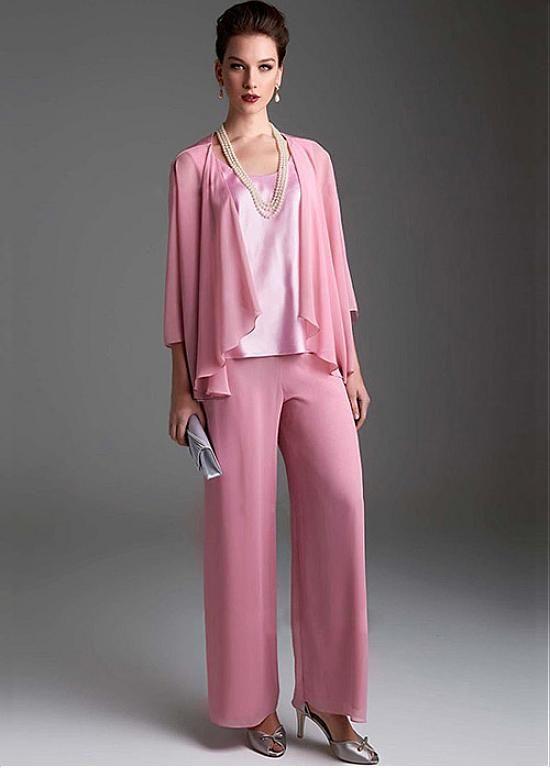 comprar Glamorosa Pantalones Chiffon Escote Scoop longitud completa ...