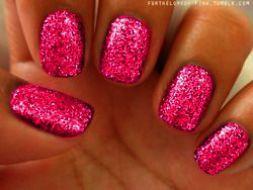 home  blend of bites  pink glitter nails summer nails