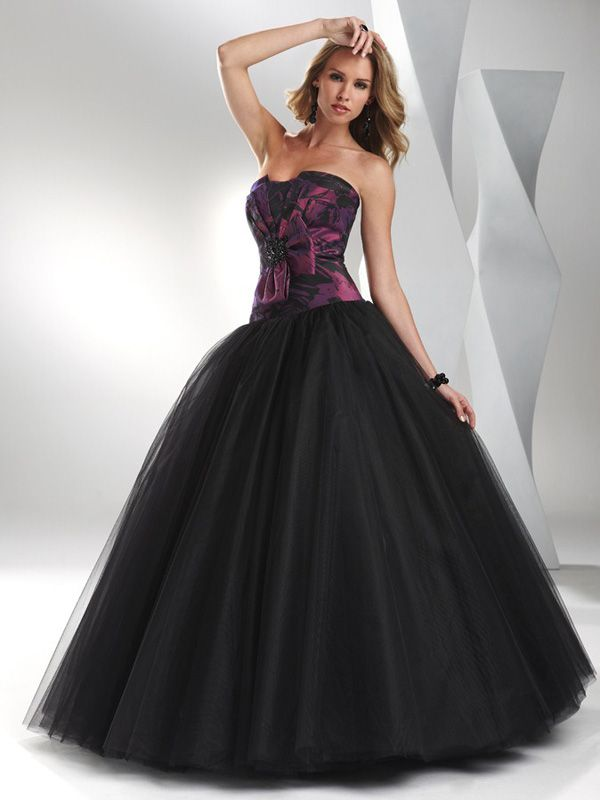 black and purple wedding dresses | Purple and Black A-Line ...