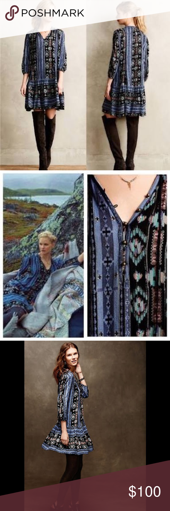 2c1e530da13 Anthropologie winter moon boho dress Anthropologie Holding Horses winter  moon dress or tunic. Super cute boho look. Has southwestern print and  tassel tie on ...