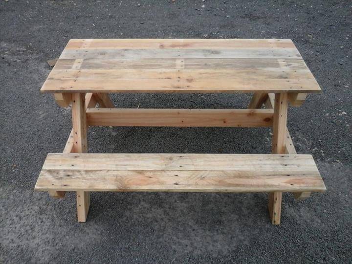 Diy Pallet Picnic Table Pallet Picnic Table Pallets Pinterest