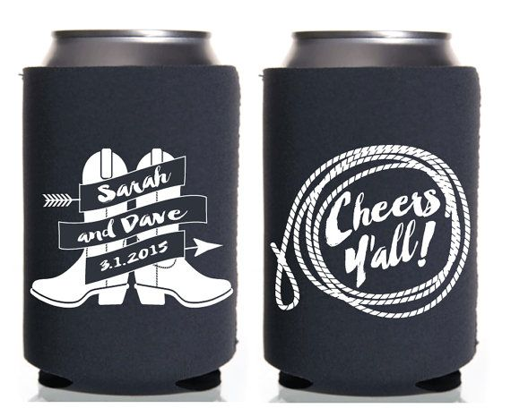 Wedding Favors Rustic Party Cheers Y Cowboy Country Can Coolers Boots Western By SipHipHooray
