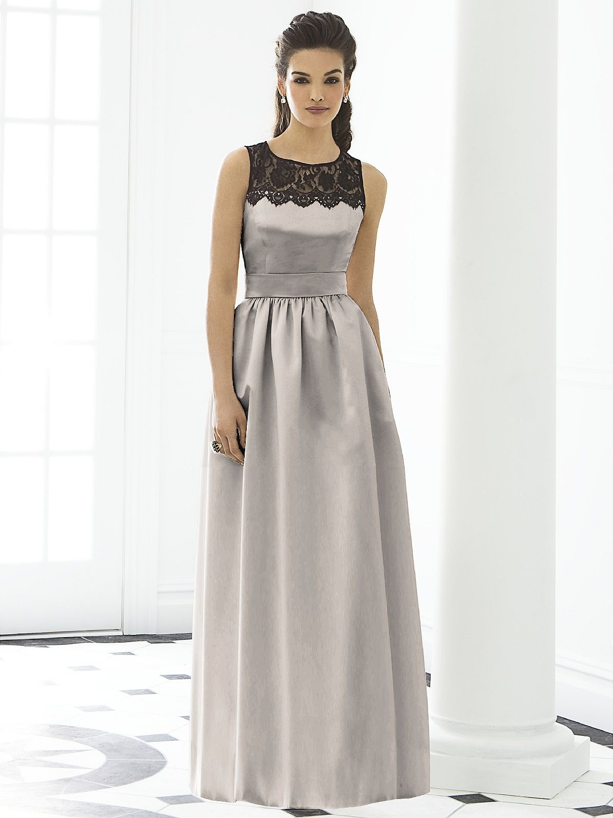 lace yoke & satin dress