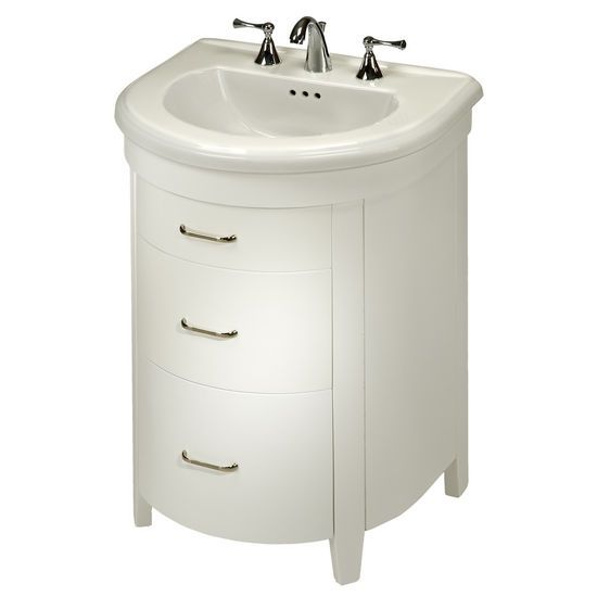 Bathroom Vanities, Bella 23u0027u0027 One Door And One Bottom Drawer Semi Round  Vanity For Bolero Sink In Spice Cherry Or White By Empire |  KitchenSource.com