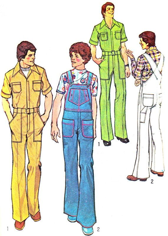 1970s Mens Jumpsuit Pattern Simplicity 7052 Mens Front Zip Jumpsuit ...