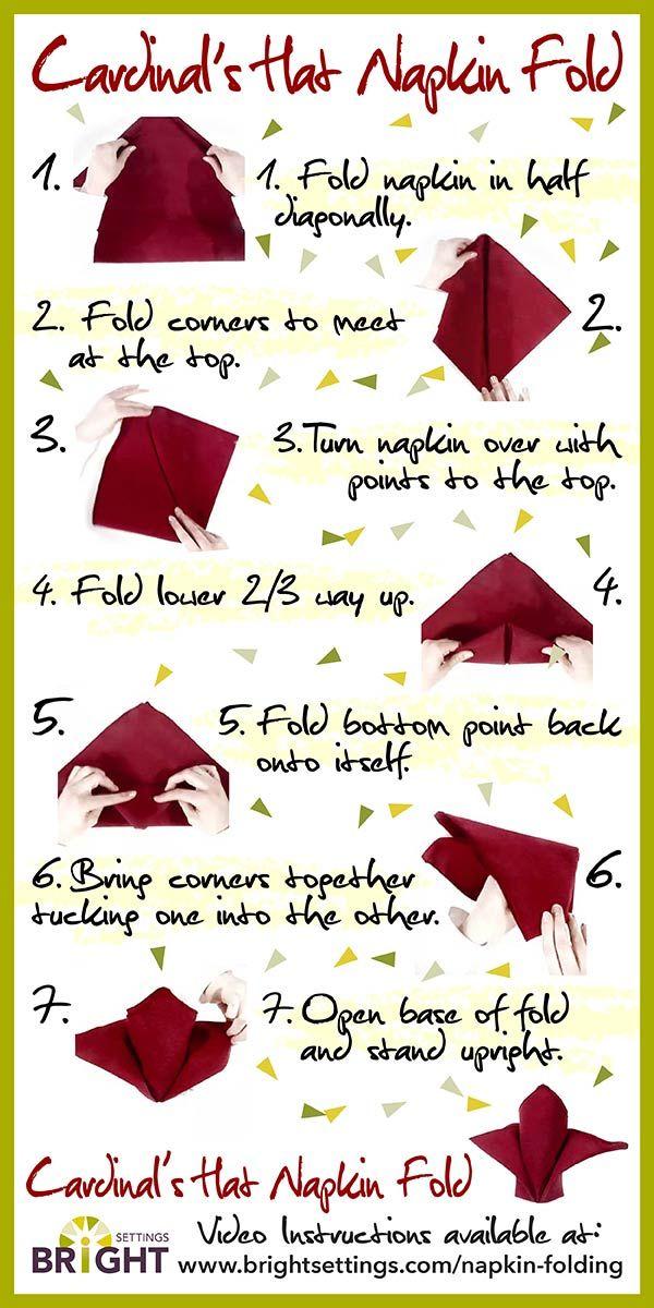 Cardinals Hat Napkin Fold Special Ideas Pinterest Napkins