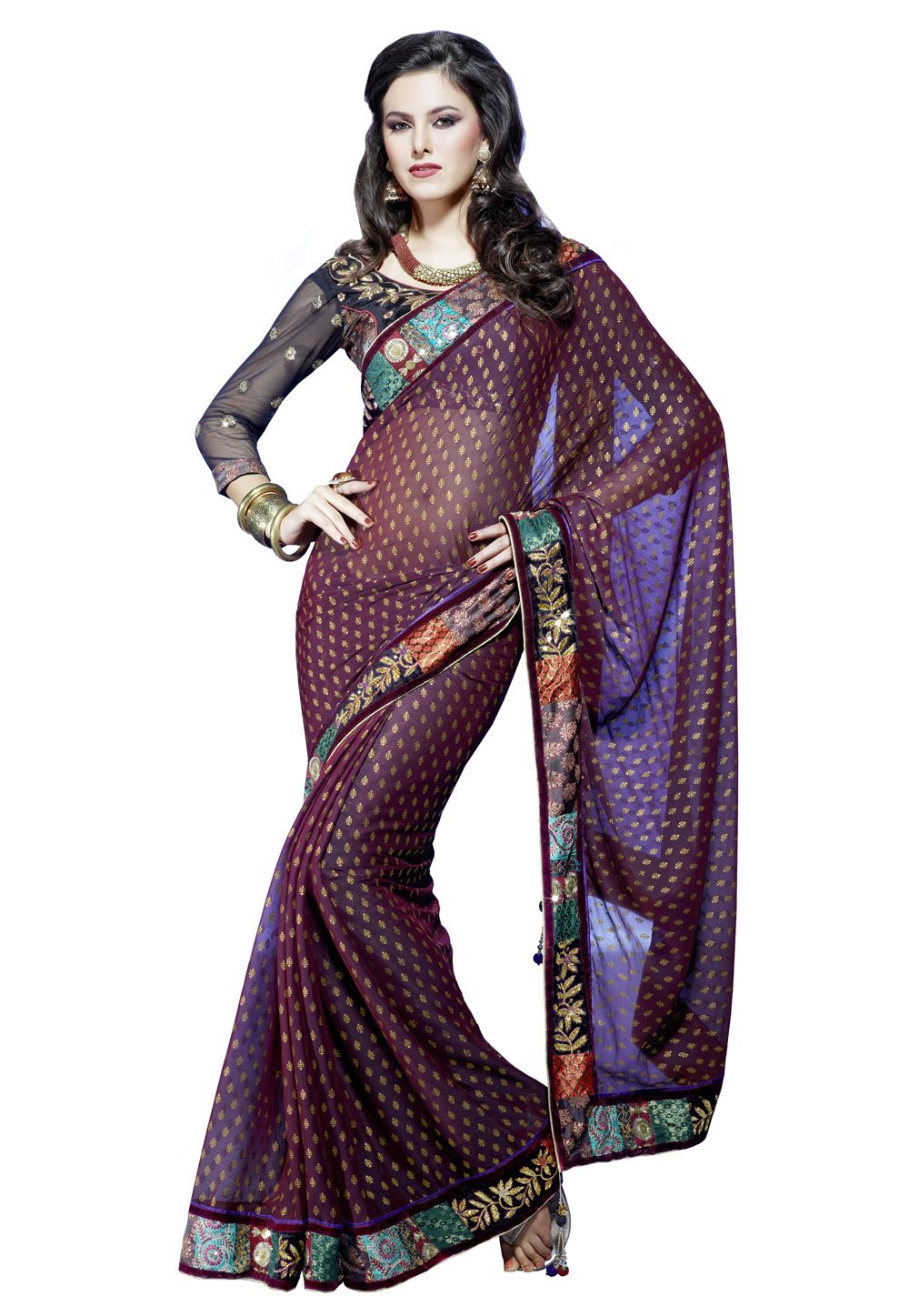 Dark maroon faux chiffon saree with blouse for me
