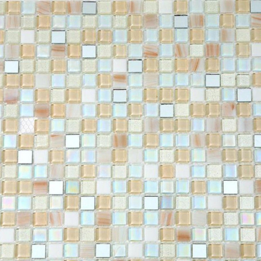 Shop 11 3 4 X 11 3 4 Whimsical Casablanca Polished Stained Glass Mirror Tile In White Iridescent Cream Me Stained Glass Mirror Glass Tile Mirror Tiles