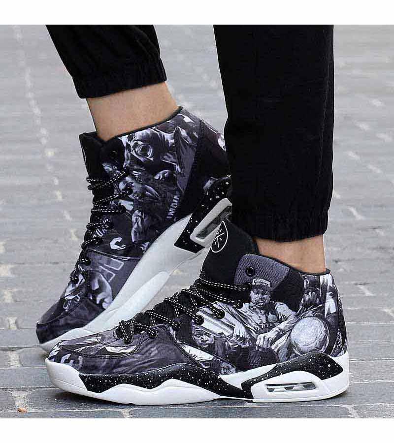 Grey Basketball Player Pattern Sport Shoe Sneaker 1441 Basketball Players Football Boots Sneakers