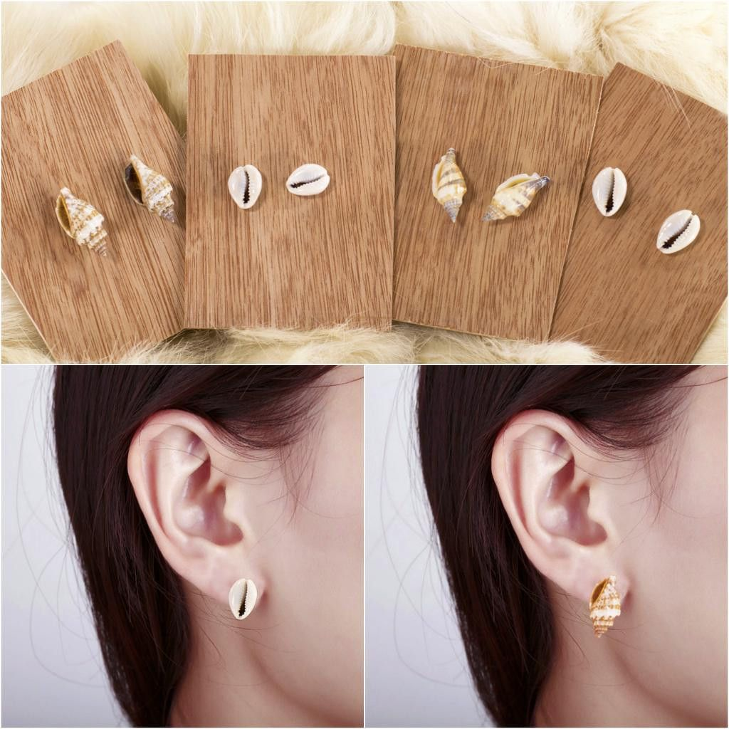 sea pin yellow cute earrings gold beautiful for stud women seashell