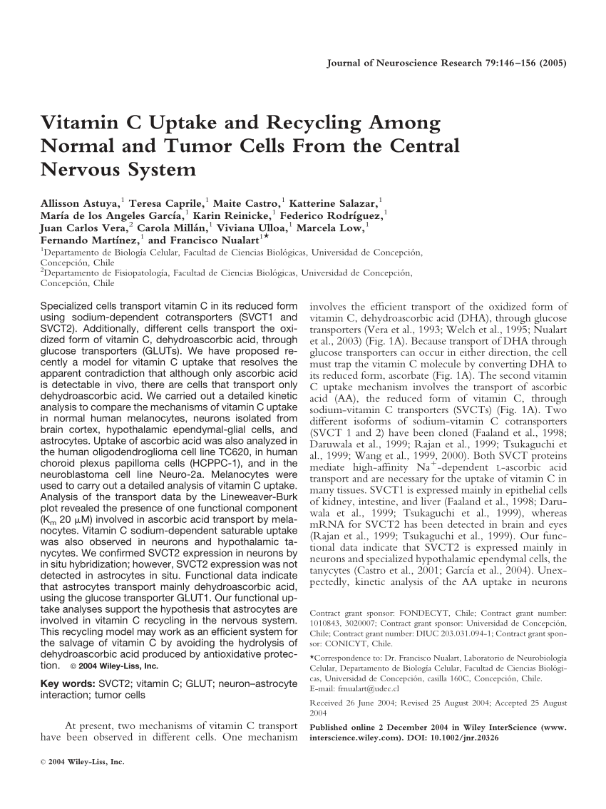 Official Full Text Paper Pdf Vitamin C Uptake And Recycling Among Normal And Tumor Cells From The Central Nervou Central Nervous System Nervous System Tumor