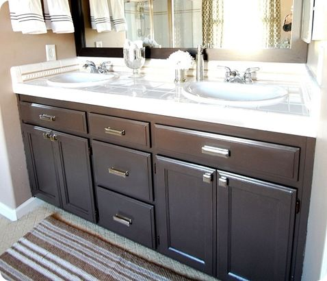 Paint Color On The Vanity That Rich Espresso Is Valspar S Latex Betsy Ross House Brown 6011 2 In Soft Gloss Kitchen Bath Formula