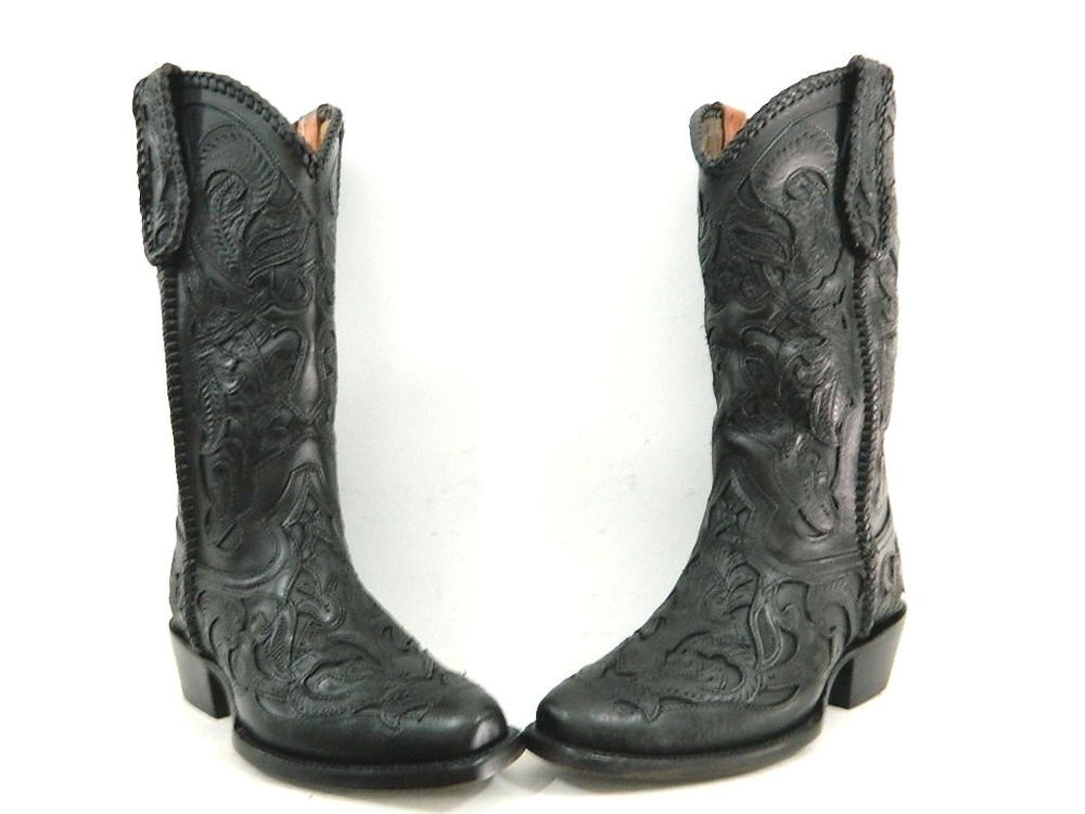black hand tooled cowboy boots men size 9 1/2  ready to ship only one pair  #Miguelcustomboots #CowboyWestern
