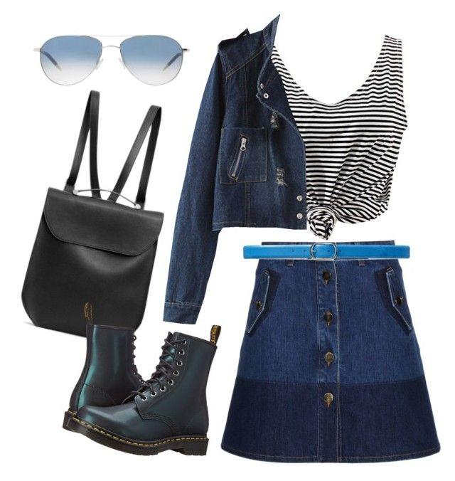 """Jeans skirt"" by camilademonteiro on Polyvore featuring moda, Valentino, Lauren Ralph Lauren, Oliver Peoples, GRETCHEN e Dr. Martens"