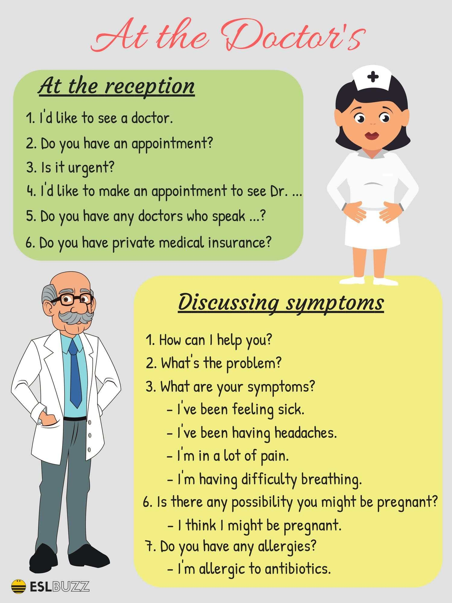20 Common English Phrases For The Doctor S Office Eslbuzz