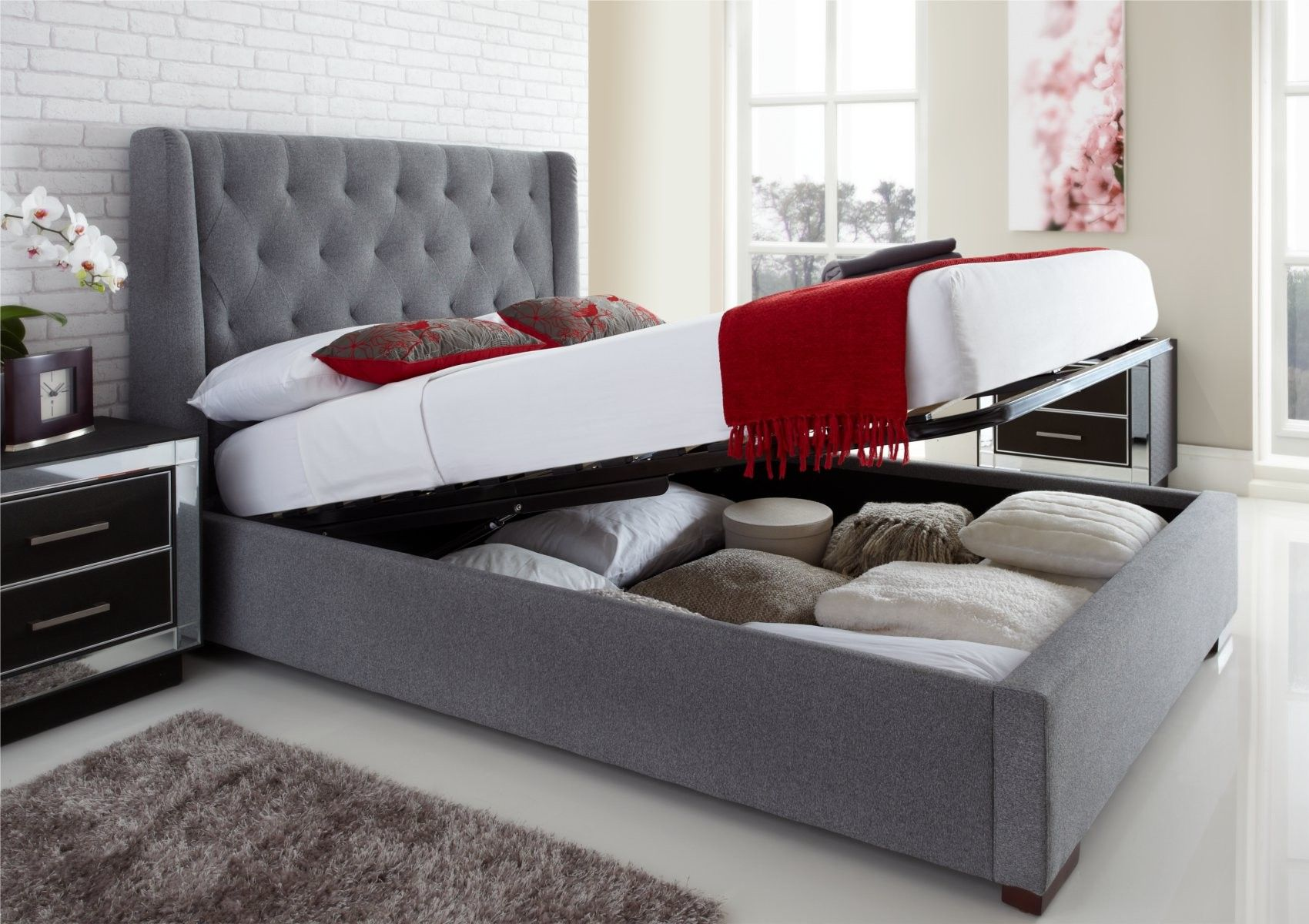 Richmond Grey Fabric Lift Up Ottoman Storage Double King Size Bed Frame |  Beresford Rental Larger | Pinterest | Ottoman Storage, Double King Size Bed  And ...