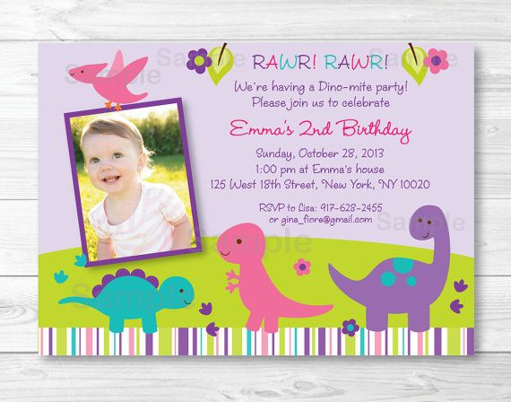 Cute Girl Dinosaur Birthday Invitation by LittlePrintsParties – Toddler Girl Birthday Invitations