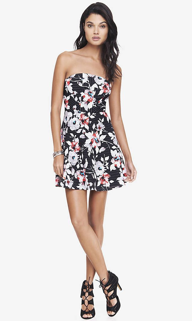 Express - Floral strapless fit & flare dress. | Just Dresses ...