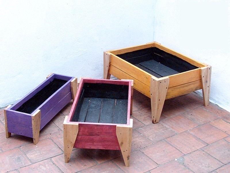 Cajon para huerta o cantero madera reciclada mediano for Muebles cantero