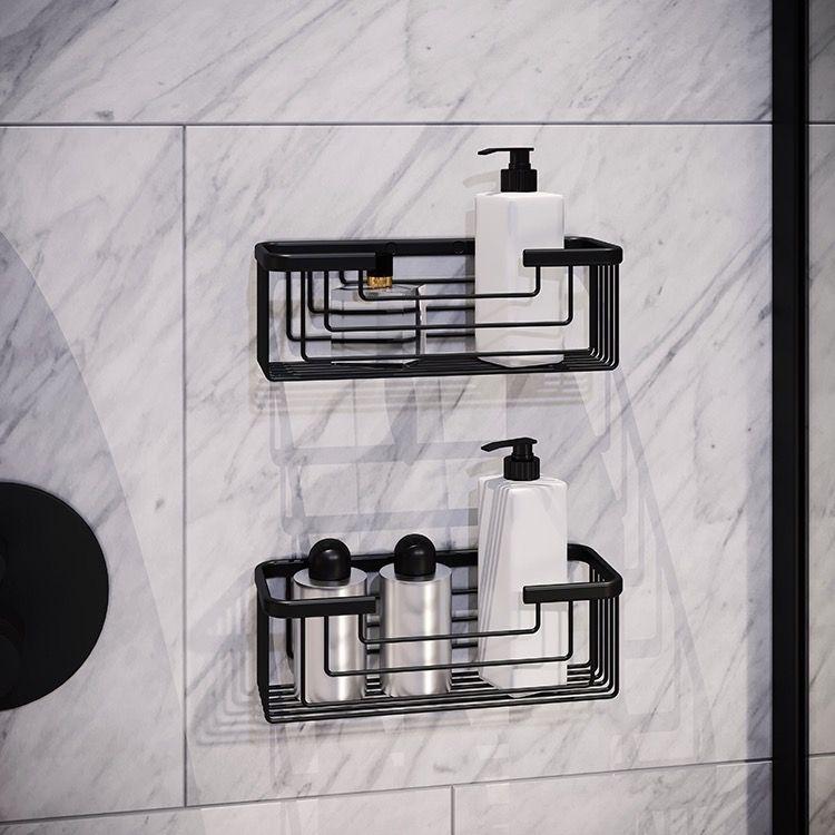 Set Of Matte Black Shower Baskets In 2020 Black Bathroom