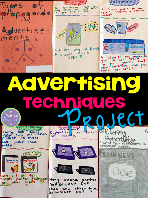 Advertising Techniques A Project Idea For Upper Elementary And Middle School Students Students Defi Advertising Techniques School Advertising Media Literacy
