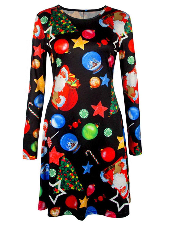 Womens Long Sleeve Christmas Santa Claus Lucky Star Print Xmas Gifts Casual Mid Dress L Black Long Sleeve Dress Casual Dresses Plus Size Printed Casual Dresses [ 1500 x 1154 Pixel ]