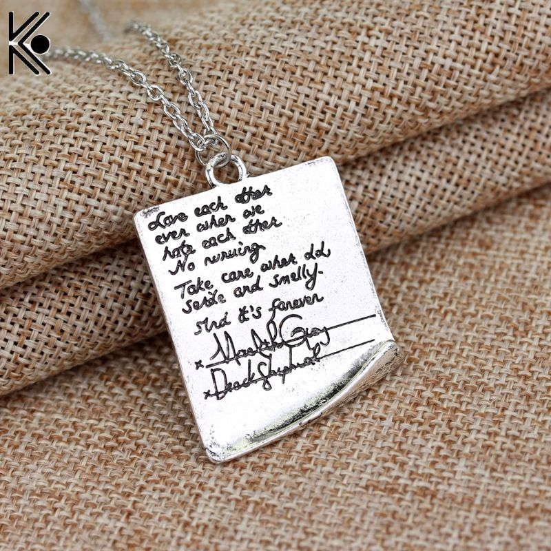 New design Greys Anatomy Quote Grey Letter Necklace Pendant High - statement letter
