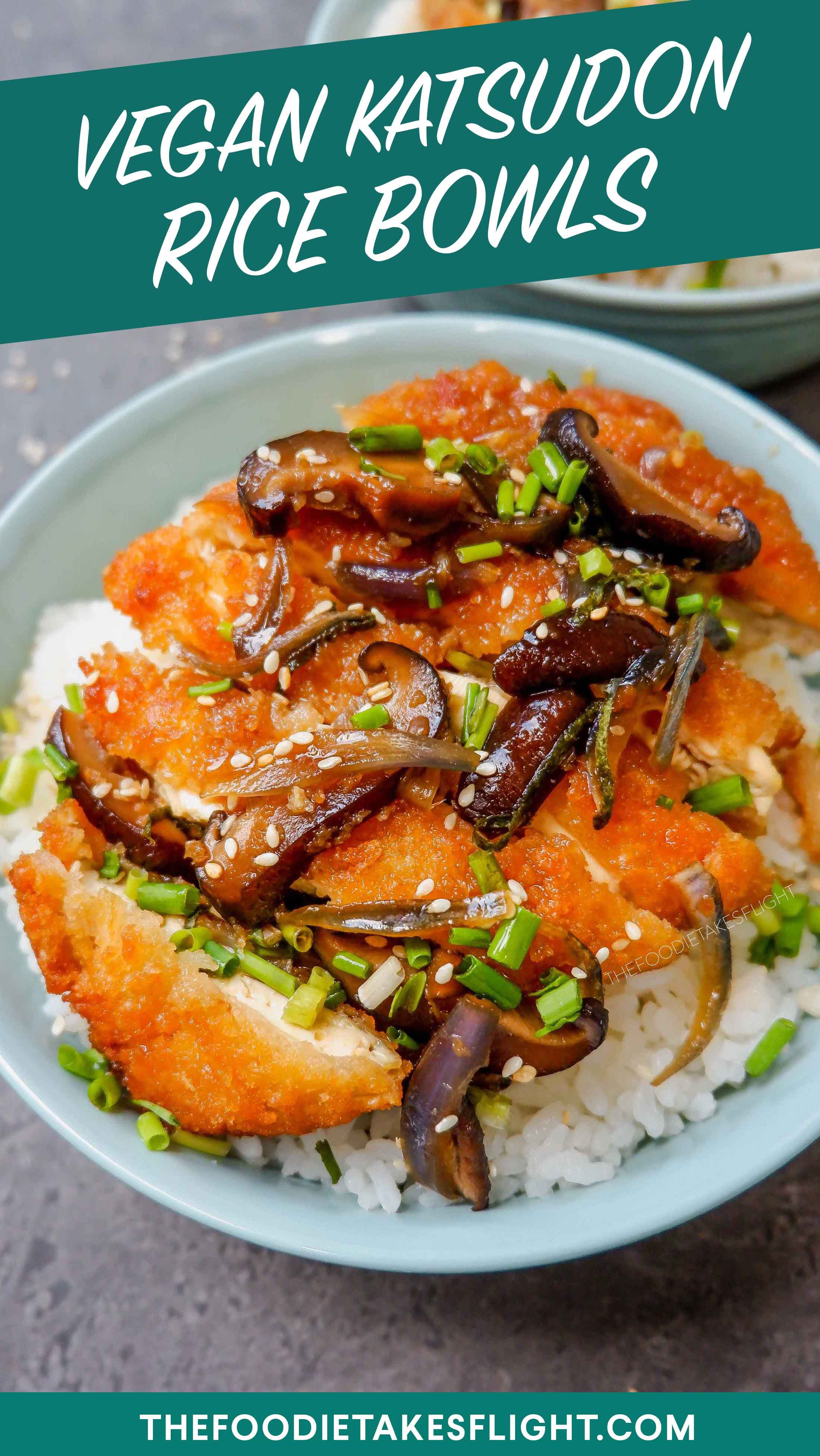 Japanese Style Katsudon Rice Bowls Vegan Recipe Recipe Easy Japanese Recipes Recipes Vegan Recipes