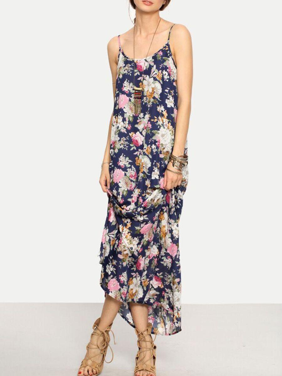 77d655ce30 Spaghetti Strap Floral Printed Maxi Dress-Berrylook #cheapmaxidresses  #longmaxidresses #womensmaxidresses