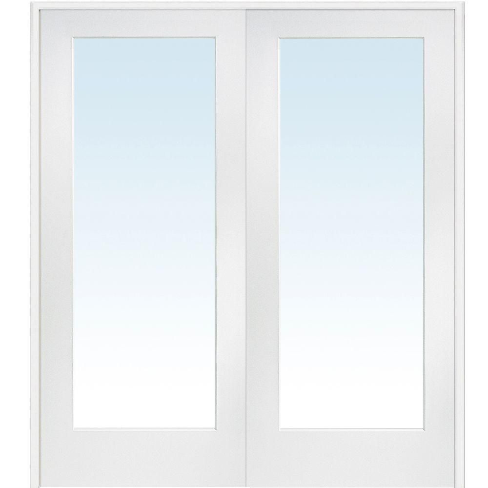 Mmi Door 72 In X 80 In Both Active Primed Composite Clear Glass Full Lite Prehung Interior French Door Z009302ba Glass French Doors Prehung Interior French Doors French Doors