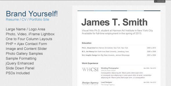 Brand Yourself - Resume / CV / Portfolio Resume cv, Template and