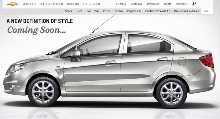 Chevrolet Sail India Launch Soon Says Official Website