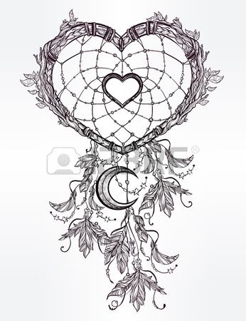 Hand Drawn Romantic Drawing Of A Heart Shaped Dream Catcher Fascinating Drawn Dream Catchers