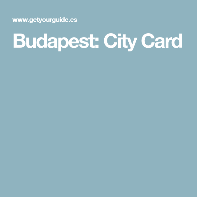 Budapest: City Card