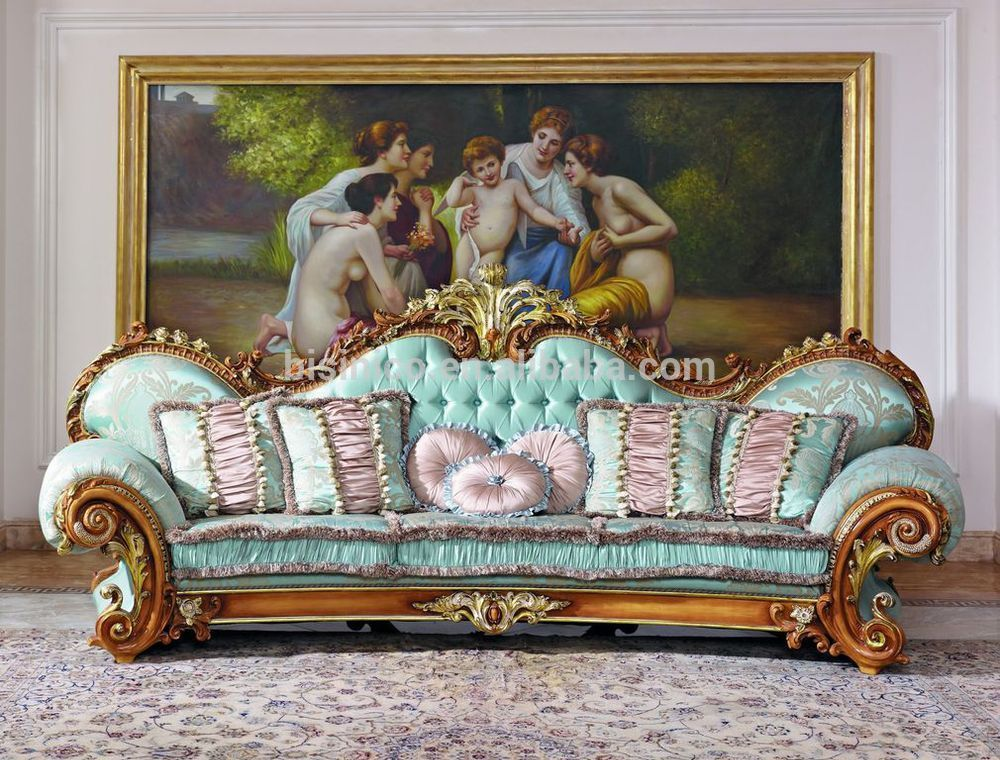 Baroque Sofa Set Luxury French Baroque Style Living Room Blue Sofa Set/fancy Palace Style Wood Carving