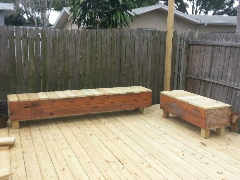 Garden Furniture Made From Decking wood bench seating made from scrap deck boards and flower boxes