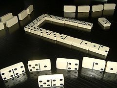 The earliest mention of dominoes is from Song Dynasty China, found in the text Former Events in Wulin.[1] Dominoes first appeared in Italy during the 18th century, and although it is unknown how Chinese dominoes developed into the modern game, it is speculated that Italian missionaries in China may have brought the game to Europe.[2]