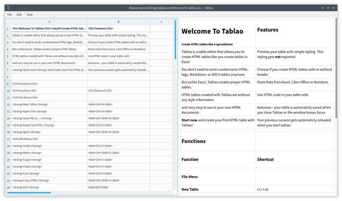 Tablao – An Open-source and Cross-platform HTML Table Editor for