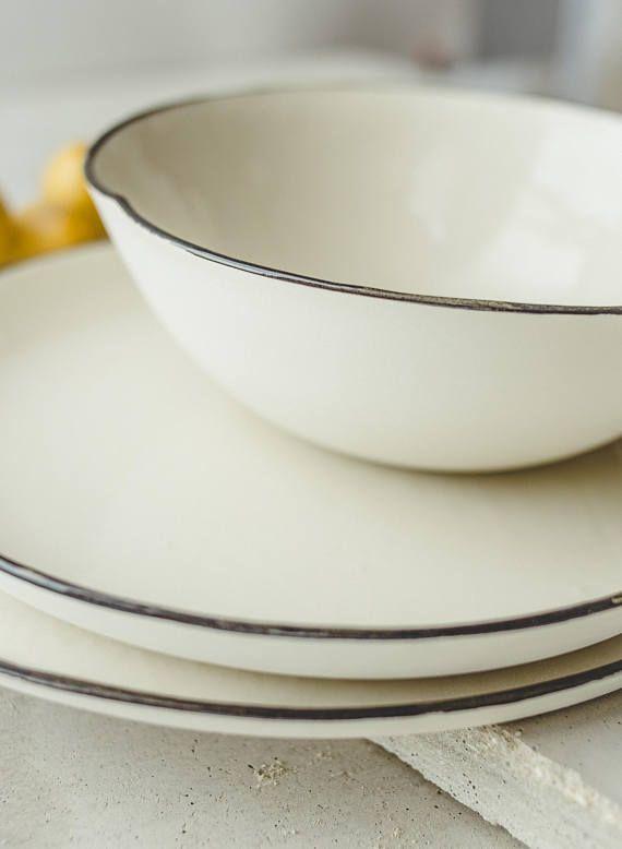 Ceramic Plate Ceramic Bowl Porcelain Bowl Dinner Plates Serving Set Black White Dishes Rustic Pottery Dinnerware Set New home gift for him With u2026 & Ceramic Plate Ceramic Bowl Porcelain Bowl Dinner Plates Serving Set ...