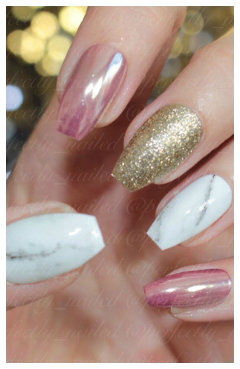 Rose Chrome Gold Glitter And Marble Gel Nails Handpainted False Fake Press On Stick Ad Rosegold