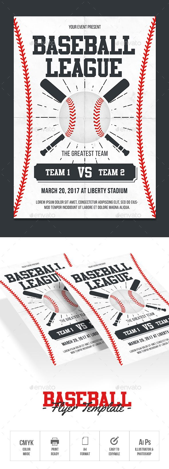baseball flyer template sports events