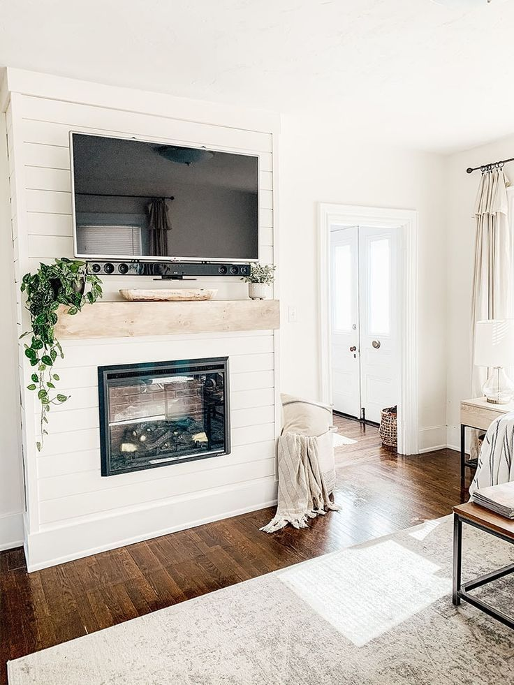 Electric Fireplace Ideas With Tv Shiplap in 2020 Faux
