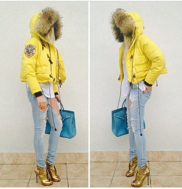 Coat: yellow jacket, fur trim hood, padded - Wheretoget | The ...