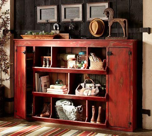 Plain Red Console Table Storage Furniture Lucy Pottery Barn Distressed And Decor