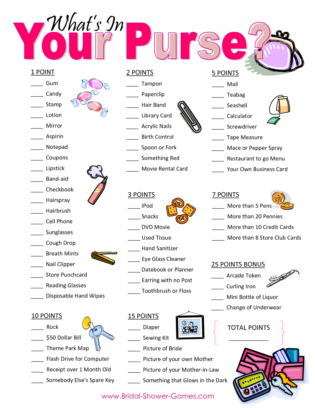 bridal shower purse game list what in your purse bridal shower game