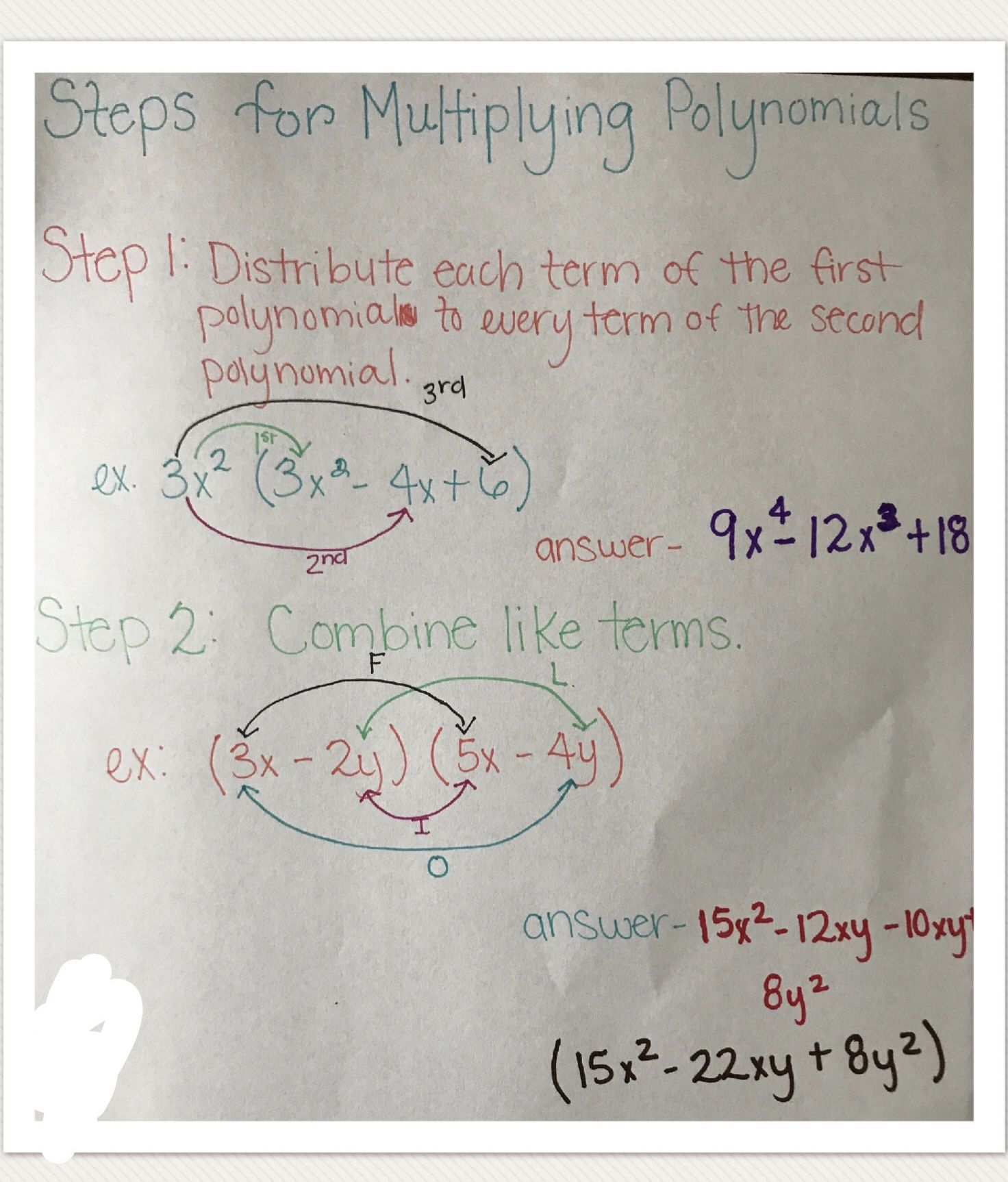 Multiplying Polynomials Steps With Images