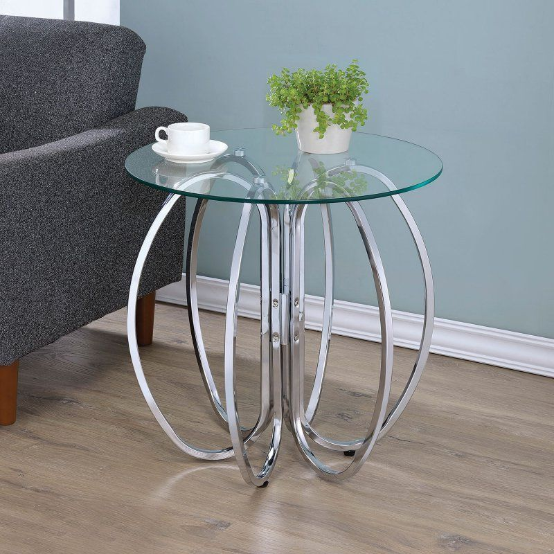 Coaster Company of America Interlocking Circle Accent Table Chrome - 902633 | Products | Coaster furniture. Chair side table. Table furniture